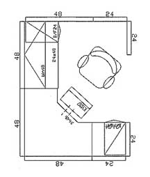 6×8 Corner, 48 sq/ft Typical Layout