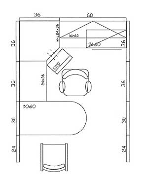 8×10.5, 84 sq/ft Typical Layout