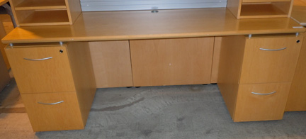 AS IS Teknion Descor Knee Space Credenza and Hutch