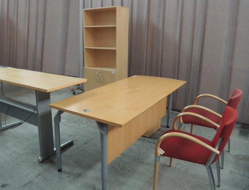 AS IS Teknion Executive L Desk and Bookcase
