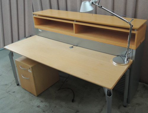 AS IS Teknion Reception Desk and Lamp