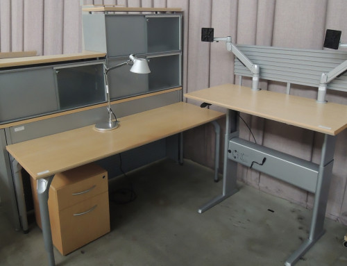 "AS IS Teknion Executive ""L"" Desk With Shared Bookcase"