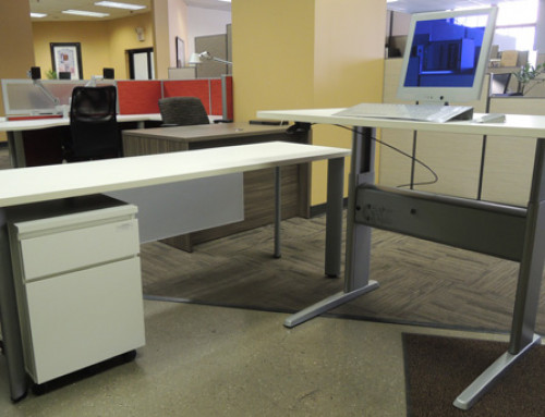 "AS IS Teknion Height Adjustable ""L"" Desk Unit"